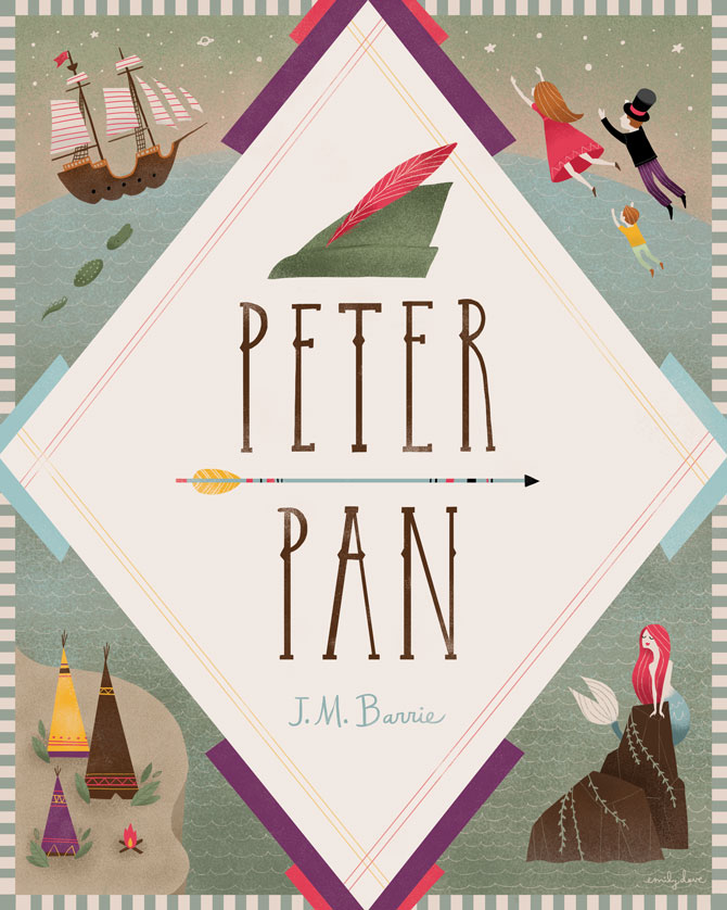 Pretty Book Cover Art ~ Peter pan book cover emily dove illustration