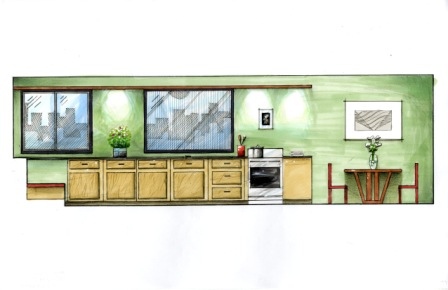 Interior Design Elevation Sketch